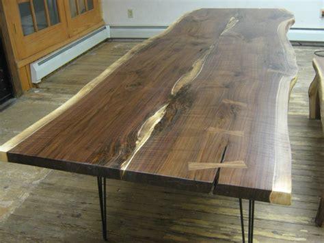 walnut  edge slab table  hairpin legs  texpenn