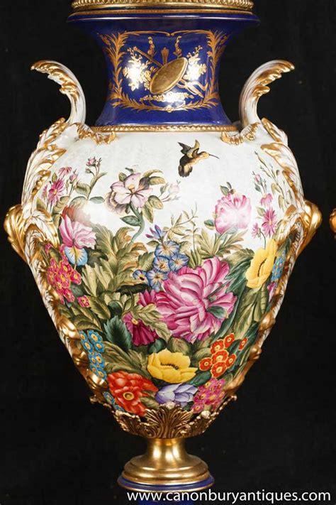 pair german dresden porcelain torpical bird vases urns floral