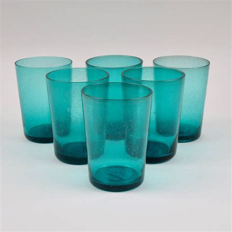 boxed set   recycled glass tumblers petrol blue