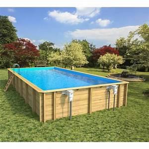 Piscine Enterrée Rectangulaire : odyssea piscine bois 10x5 m h 1 46 m liner bleu achat vente piscine piscine bois rectangle ~ Farleysfitness.com Idées de Décoration