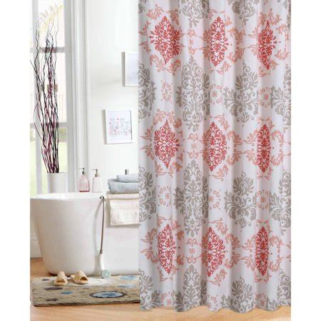 coral colored shower curtain mainstays coral damask shower curtain walmart
