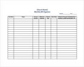 Monthly Bill Organizer Template