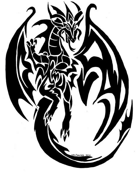 dragon tribal tattoo commision  wolfsouled