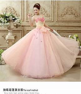 100%real beading pink small flower solo long ball gown ...