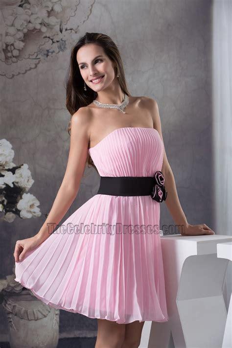 pink strapless   cocktail graduation party dresses