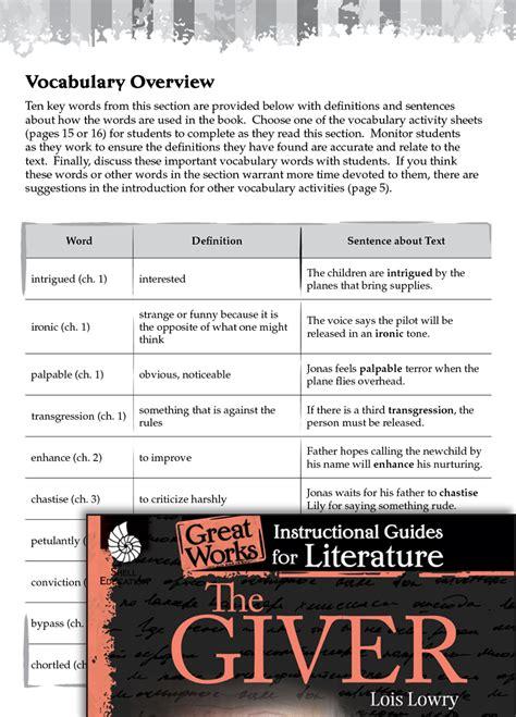 giver vocabulary activities teachers classroom