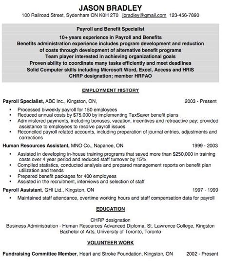 Payroll Assistant Resume Template by Resume For Payroll Assistant Http Exleresumecv Org