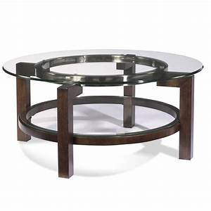 Bassett mirror t1705 120 oslo round glass top cocktail for Circular glass top coffee table