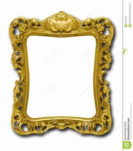 Ornate Gold Picture Frame Against White Royalty Free Stock ...