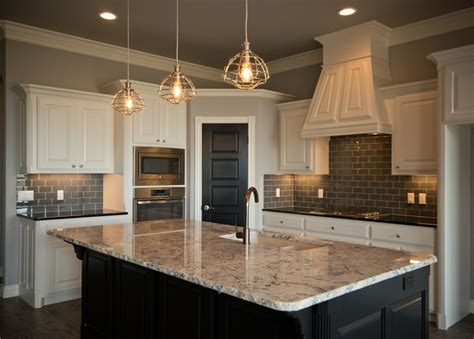 Kitchen With White Cabinets And Dark Island Fireplace Houston Houzz Stone Electric Basement Multi Sided Gas Thermocouple Built Ins Cleaner Stand