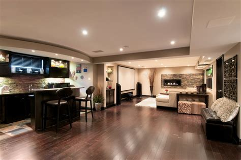 A Basement With Room to Entertain   Contemporary