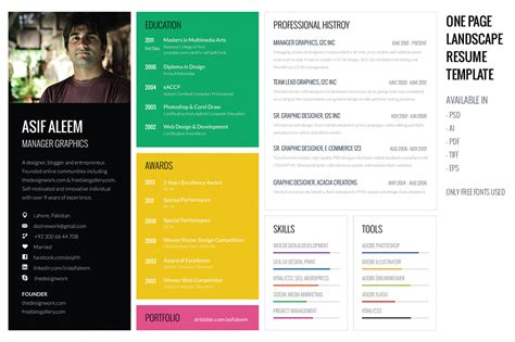 landscape resume cv template resume templates on