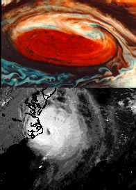 jupiters great red spot compared  hurricane  earth