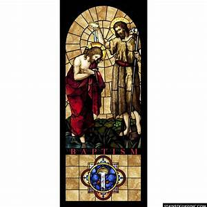 """""""The Baptism of Christ"""" Religious Stained Glass Window"""