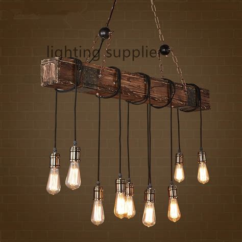 Vintage Dining Room Light Fixture by Loft Style Creative Wooden Droplight Edison Vintage