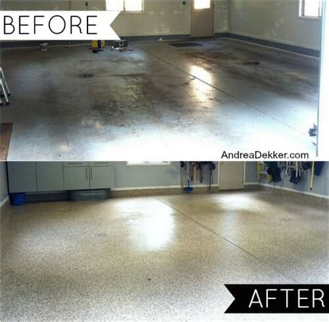 garage floor paint before and after our new epoxy garage floor q a andrea dekker
