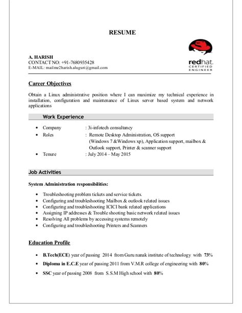 Upload Resume For Fresher by Harish Resume Linux Fresher