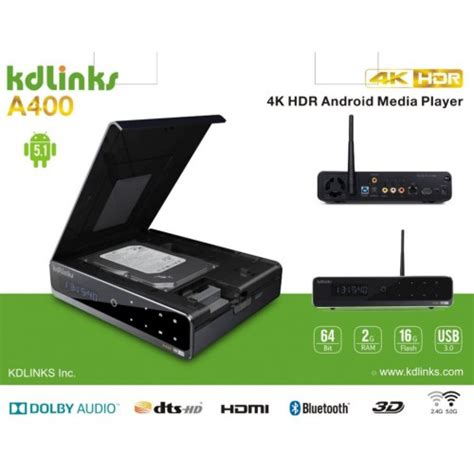 hd player for android kdlinks a400 4k android 3d smart h 265 hd tv