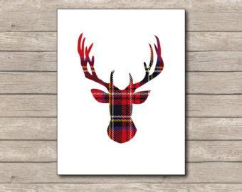deer antlers and plaid for christmas plaid printable print deer reindeer 3 winter home decor