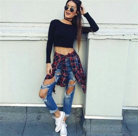 Jeans ripped jeans tumblr outfit - Wheretoget