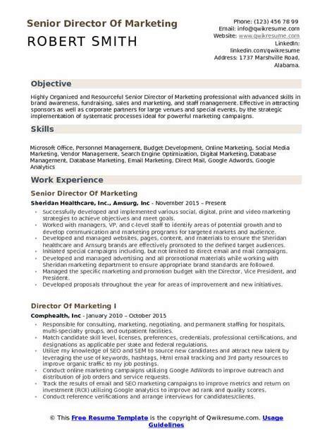 Marketing Resume by Director Of Marketing Resume Sles Qwikresume