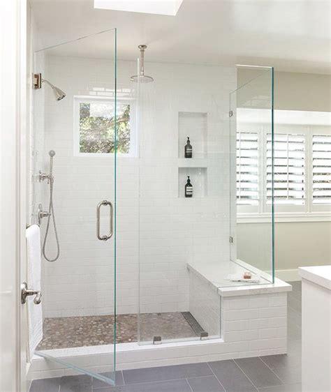 bathroom bench ideas modern bathroom features a walk in shower clad in a