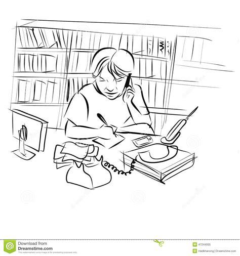 bureau de dessin dessin de l 39 homme travaillant à bureau illustration de