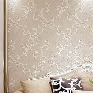 Creamy White Modern 3d Floral Wallpaper Embossed Textured ...