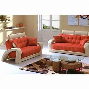$1546 2 Pcs Living Room Set Sofa and Loveseat in Orange
