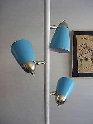 details  mid century retro brass tension pole floor lamp  switch original glass shade