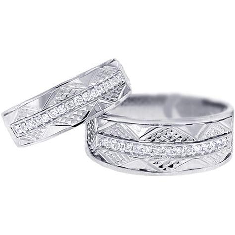white gold wedding rings sets for him and vintage wedding bands set for him 18k gold 0 33ct 1341