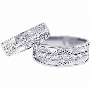 Unique wedding rings set for him and her white gold 18k for Diamond wedding ring for him