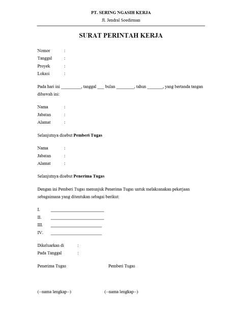 Contoh Surat Perintah Kerja Perusahaan by Contoh Surat Perintah Kerja Yang Benar Dan Formal Contoh