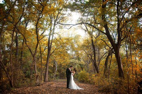 fall wedding outdoor wedding shot of bride and groom