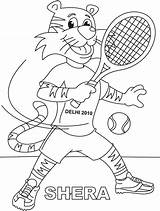 Tennis Coloring Racket Shera Playing Pages Lawn Printable Getcolorings Print sketch template