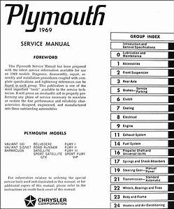 1969 Plymouth Repair Shop Manual Original