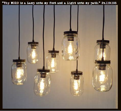 mason jar 8 light pendant chandelier new quart clear the