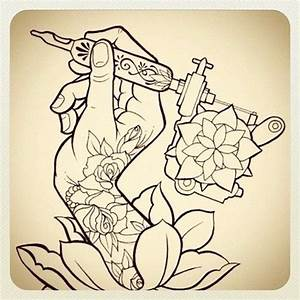 tattoo sketch : hand with tattoo machine and rose Tattoos ...