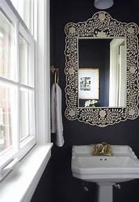powder room mirror Black and White Powder Room with Black Bone Inlay Mirror - Transitional - Bathroom