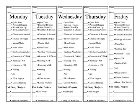 homeschool daily check list  days   sheet  paper tear  give   child  check