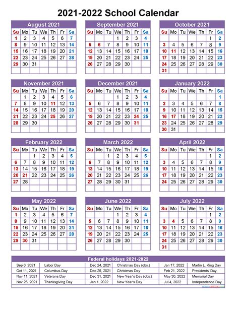 school calendar    printable portrait