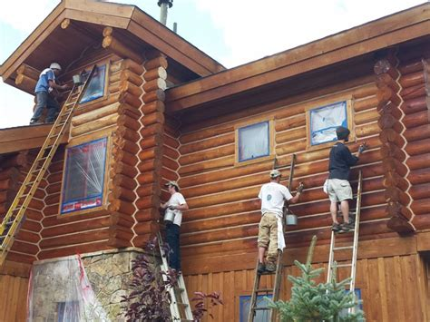 log home maintenance staining log home rustic exterior