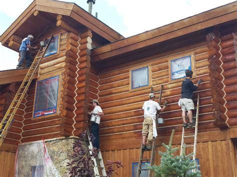 Log Home Maintenance Staining Log Home  Rustic  Exterior