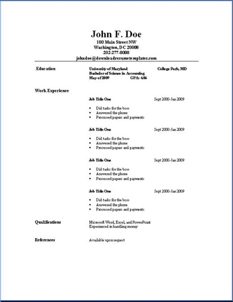 Simple Resume Format Pdf by Sle Resume Format September 2015