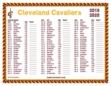 printable   cleveland cavaliers schedule