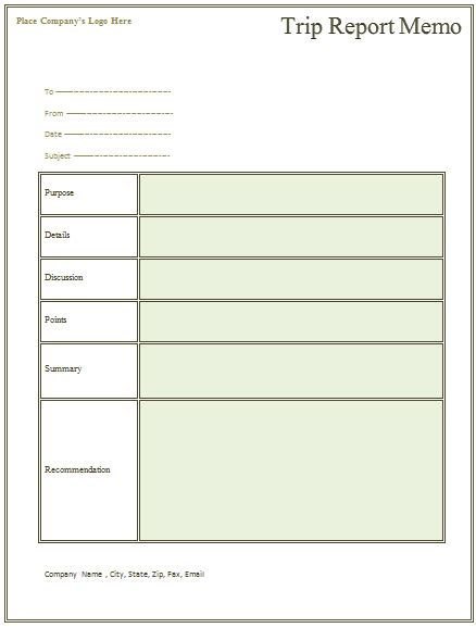 Company Trip Proposal Template by Trip Report Memo Template For Business Trips