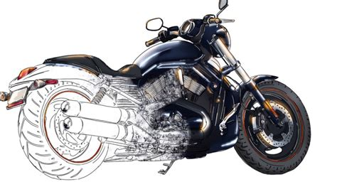 How To Draw Harley-davidson Motorcycle From Scratch. Hd