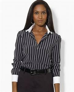 H M Dress Shirt Size Chart Lyst Ralph Pinstripe Silk Blouse In White