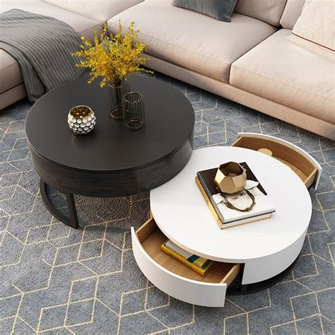 Many round coffee tables on our list put glass and drum style coffee table: Modern Round Coffee Table with Storage Lift-Top Wood Coffee Table with Rotatable Drawers in ...