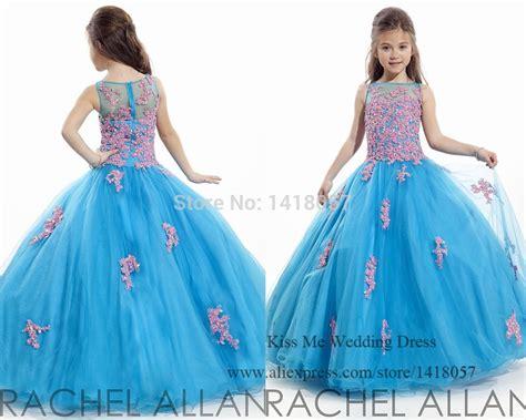 Princess Blue Pink Flower Girl Dresses 2015 Prom Dress
